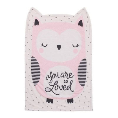 Little Love By NoJo Olivia The Owl Knit Shaped Baby Blanket - Pink/White/Black