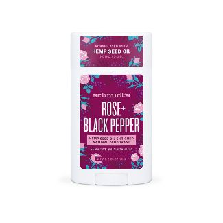 Schmidt's Rose + Black Pepper Aluminum-Free Hemp Seed Oil Natural Deodorant Stick - 2.65oz