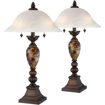 Kathy Ireland Mulholland Bronze and Alabaster Glass Table Lamp Set of 2