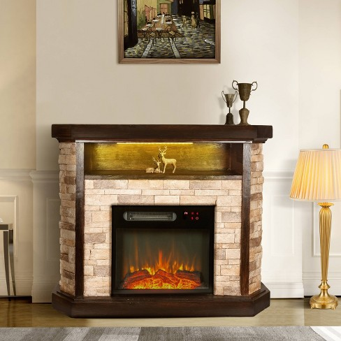 39 Freestanding Electric Fireplace Tan Home Essentials Target