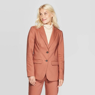 Women's Long Sleeve Button Front Blazer   A New Day™ Blush by A New Day