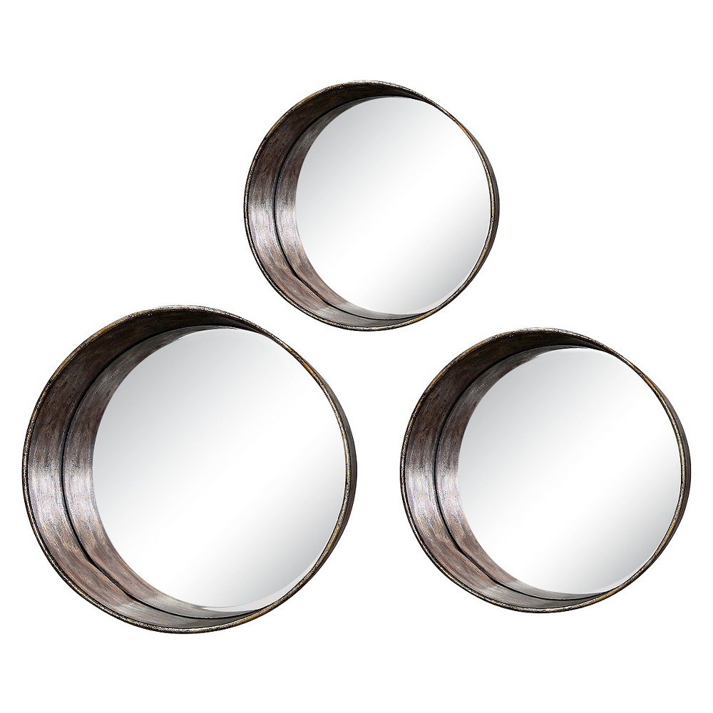 Image of Round Framed Mirror Set of 3 - 3R Studios