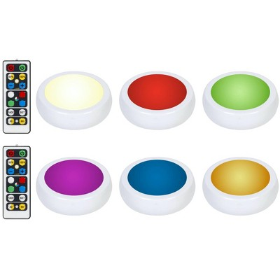 Brilliant Evolution 6pk Wireless Color Changing LED Under Cabinet Puck Light With 2 Remotes
