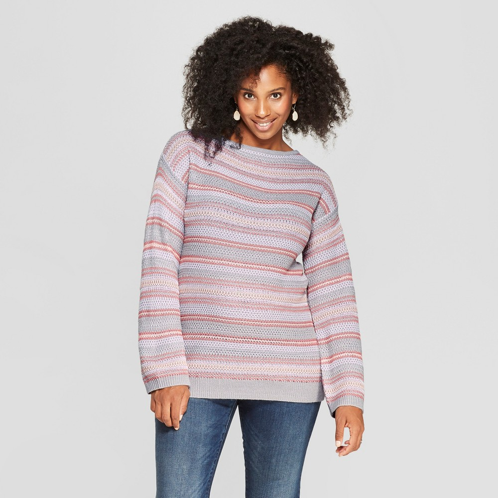 Maternity Striped Pullover - Isabel Maternity by Ingrid & Isabel Pink M, Women's