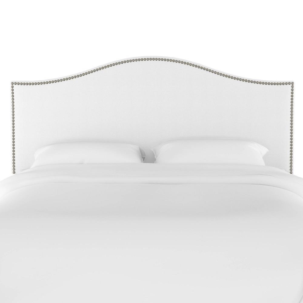 Twin Nail Button Headboard in Twill White - Skyline Furniture