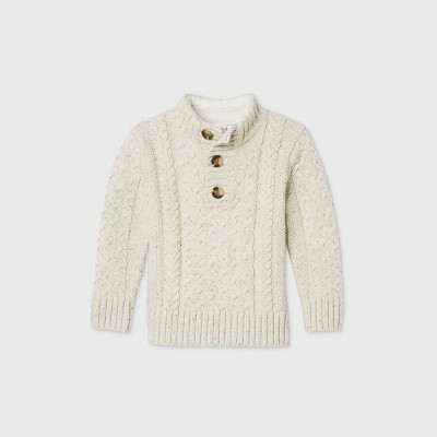 Toddler Boys' Mock Neck Cable Pullover Sweater - Cat & Jack™ Cream 12M