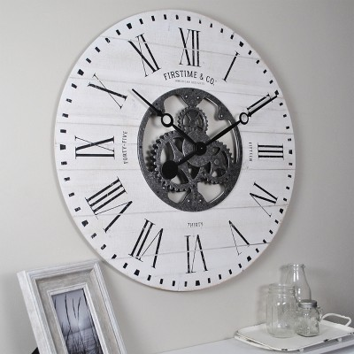 "27"" Shiplap Farmhouse Gears Wall Clock Aged White - FirsTime & Co."
