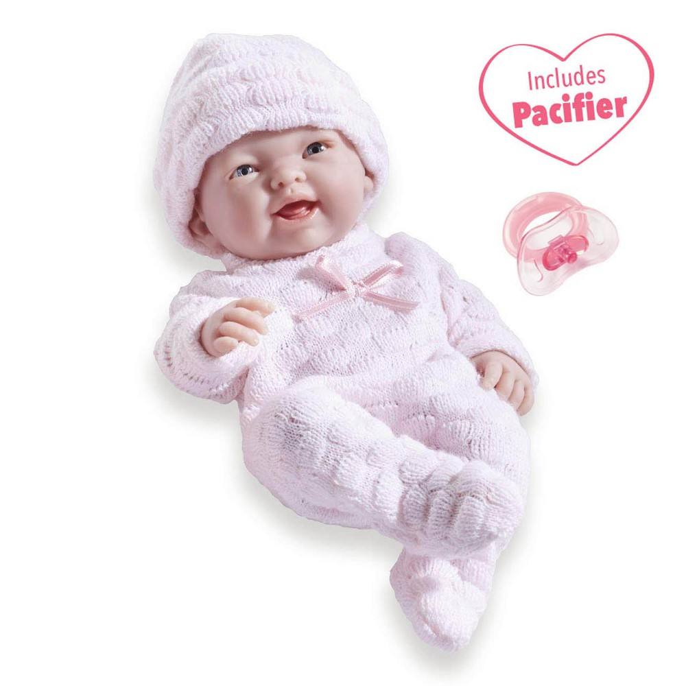 JC Toys Mini La Newborn Boutique Realistic 9.5 Anatomically Correct Real Girl Baby Doll All Vinyl Open Mouth Designed by Berenguer - Pink