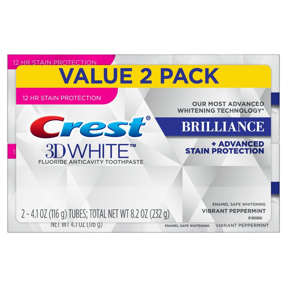 Image of Crest 3D White Brilliance Vibrant Peppermint Toothpaste - 4.1oz/2pk