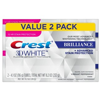 Crest 3D White Brilliance + Advanced Stain Protection Vibrant Peppermint Toothpaste - 8.2oz (Pack of 2)