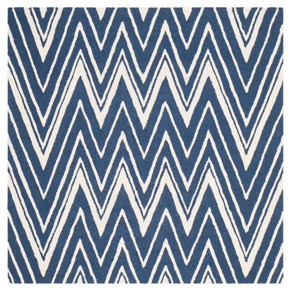Burton Textured Rug - Navy / Ivory (6' X 6' Square) - Safavieh, Blue/Ivory