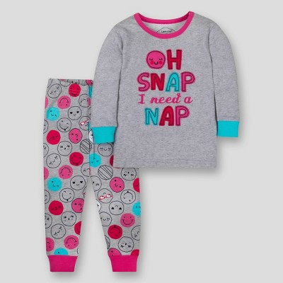 Lamaze Toddler Girls' Organic Cotton Snug Fit Pajama Set - Gray