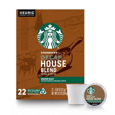 Starbucks Decaf House Blend Medium Roast Coffee - Keurig K-Cup Pods - 22ct