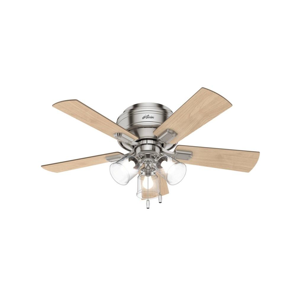"Image of ""42"""" LED Crestfield Ceiling Fan with Light Brushed Nickel - Hunter Fan"""