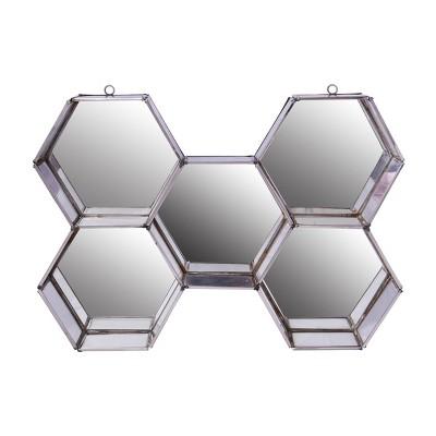 "5.5"" x 6"" Nico Hexagon Wall Mirror Display Polished Silver - A&B Home"