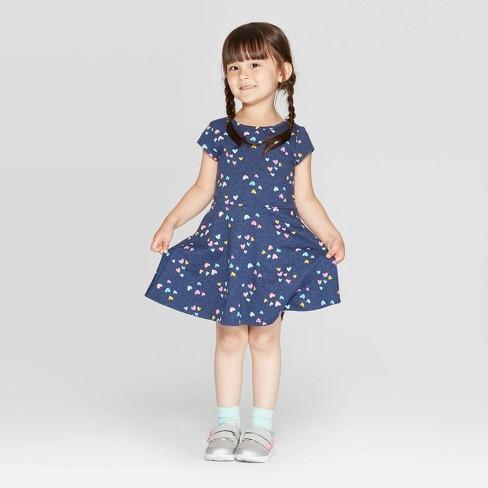 Toddler Girls' Short Sleeve Heart Print Knit Dress - Cat & Jack™ Navy - image 1 of 3