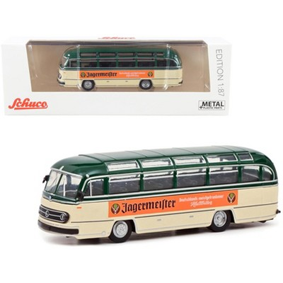 """Mercedes Benz 0321 Bus """"Jagermeister"""" Green and Cream 1/87 (HO) Diecast Model by Schuco"""