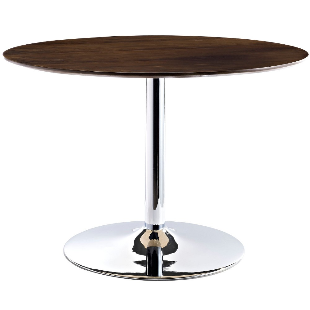 Rostrum Round Wood Top Dining Table Walnut (Brown) - Modway