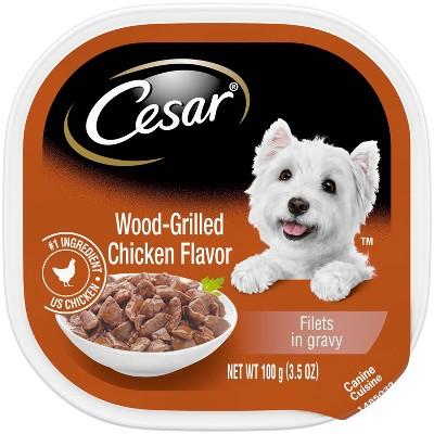 Cesar Filets in Gravy Wet Dog Food Wood Grilled Chicken Flavor - 3.5oz