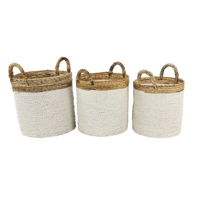 Olivia & May Set of 3 Large Round Seagrass Baskets with Banana Bark Detail White