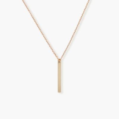 Sanctuary Project Thin Bar Drop Pendant Necklace Rose Gold