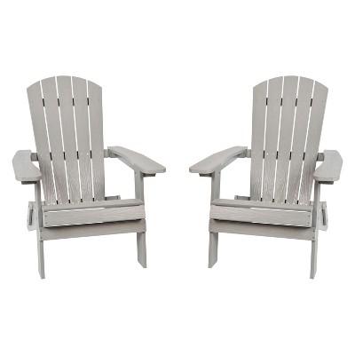 Flash Furniture Set of 2 Charlestown All-Weather Poly Resin Folding Adirondack Chair