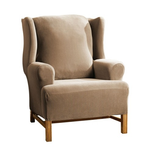 Pleasant Stretch Rib Wing Chair Slipcover Beach House Tan Sure Fit Ibusinesslaw Wood Chair Design Ideas Ibusinesslaworg