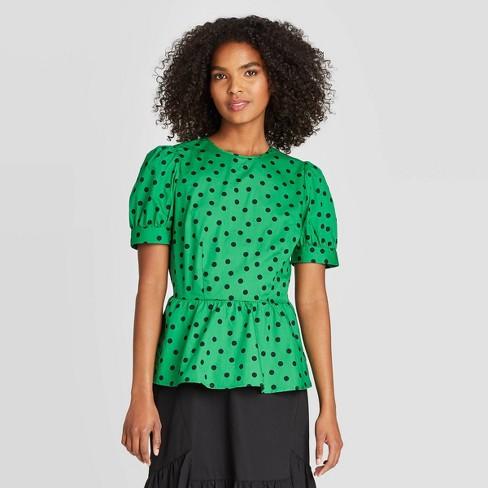 Women's Polka Dot Puff Short Sleeve Peplum Blouse - Who What Wear™ Green S - image 1 of 3