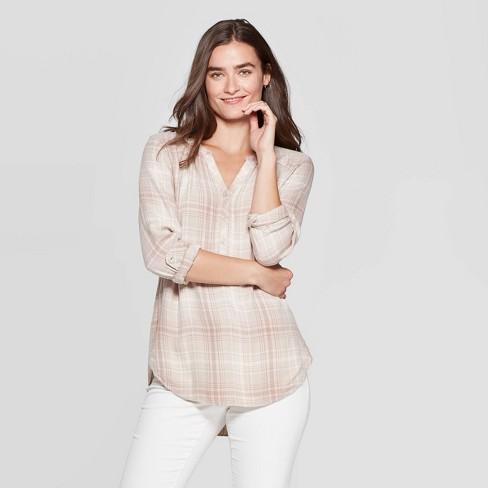 Women's Plaid Long Sleeve V-Neck Rayon Twill Tunic - Universal Thread™ Neutral  - image 1 of 3