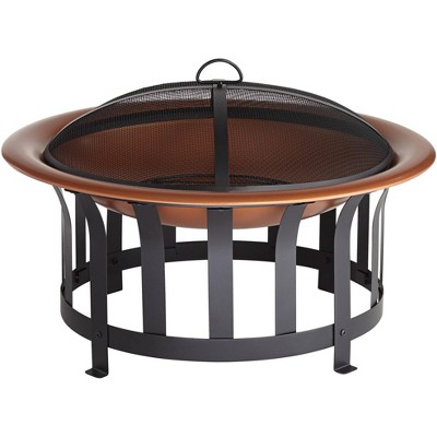 "John Timberland Copper and Black Outdoor Fire Pit Round 30"" Steel Wood Burning with Spark Screen and Fire Poker for Backyard Patio Camping"