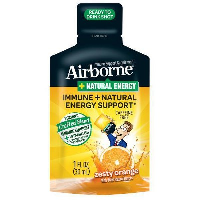 Airborne Plus Natural Energy Liquid Shot with Vitamin C - Zesty Orange - 1 fl oz