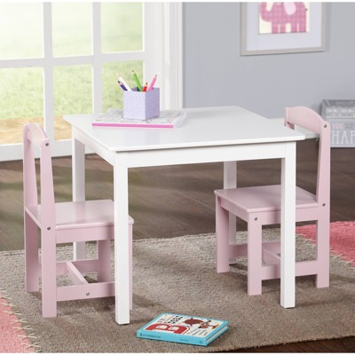 3pc Madeline Kids Table and Chairs Set Antique White/Pink - Target Marketing Services