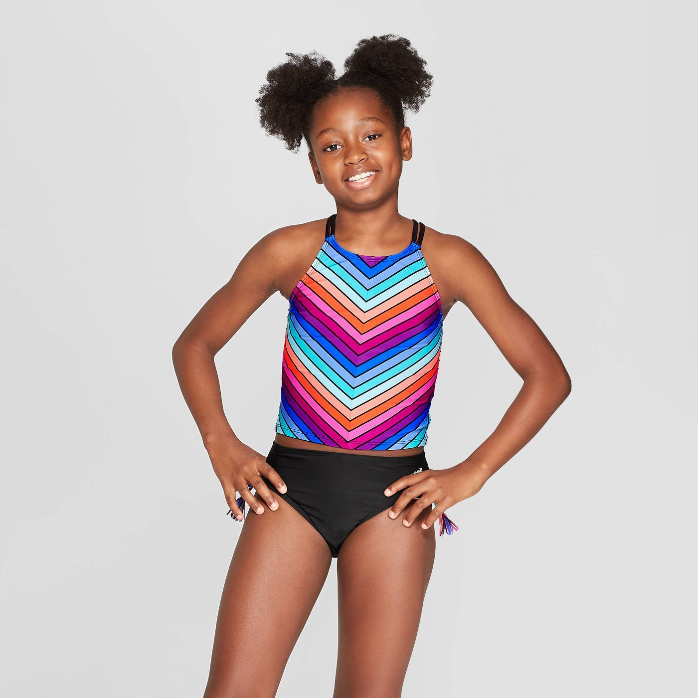 Girls' Color Bands Tankini Set - art class™ Black - image 1 of 3