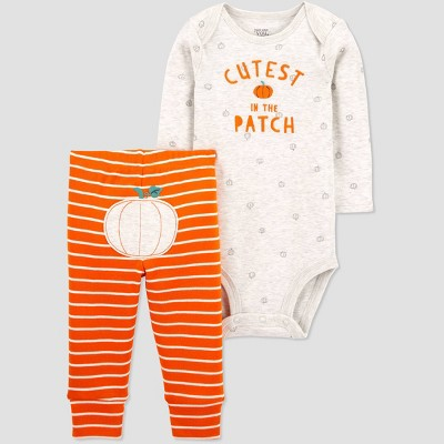 Baby Halloween Cute Patch Bodysuit - Just One You® made by carter's Gray/Orange Newborn
