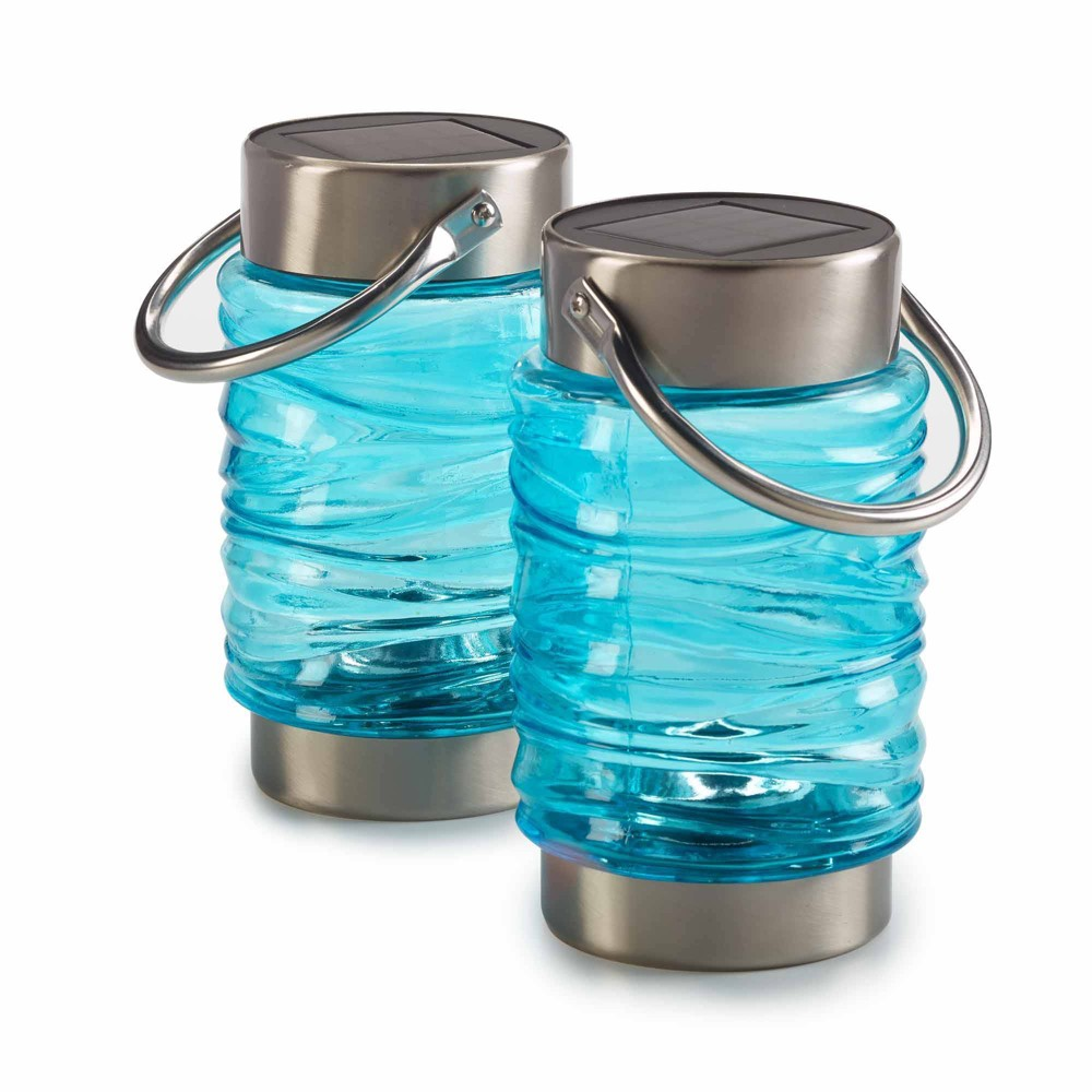 "Image of ""2pk 8"""" Wave Solar Outdoor Lantern Blue - Smart Solar"""