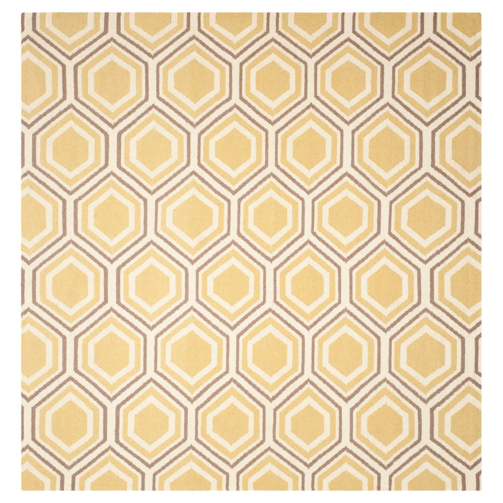 Ivory/Yellow Abstract Woven Square Area Rug - (8'x8') - Safavieh