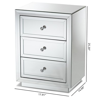 Lina Mirrored 3 Drawer Nightstand Bedside Table Silver - BaxtonStudio : Target