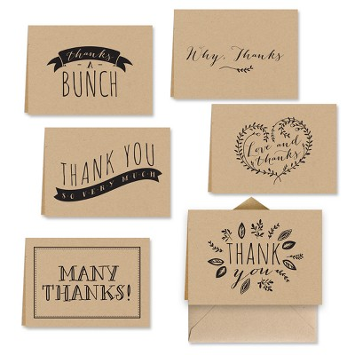 36ct Dessert Tan Krafty Thank You Cards