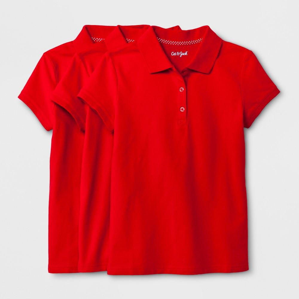 Girls' 3pc Short Sleeve Pique Uniform Polo Shirt - Cat & Jack Red S