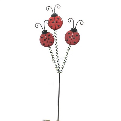 """Home & Garden 34.5"""" Triple Lady Bug Stake Good Fortune Round Top Collection  -  Decorative Garden Stakes"""