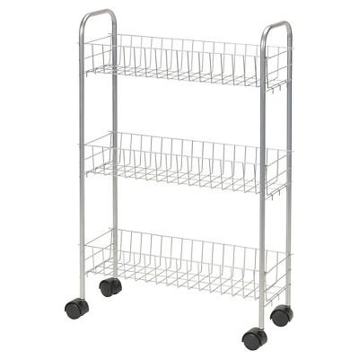 Household Essentials 3 Shelf Utility Cart Slimline Satin Silver