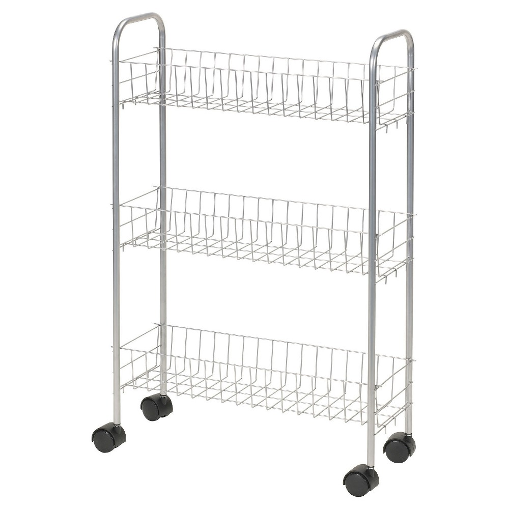 Image of Household Essentials - 3-Shelf Utility Cart - Slimline - Satin Silver