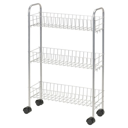 Household Essentials - 3-Shelf Utility Cart - Slimline - Satin Silver - image 1 of 2