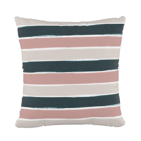 Stripe Square Throw Pillow Pink/Teal - Cloth & Co. - image 1 of 4