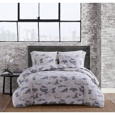 King 3pc Garment Washed Camo Duvet Cover Set Blush - Sean John