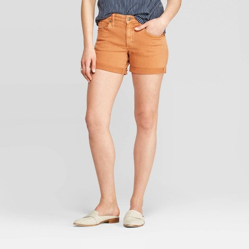 Women's High-Rise Cuffed Jean Shorts - Universal Thread™ Roasted Brown - image 1 of 3