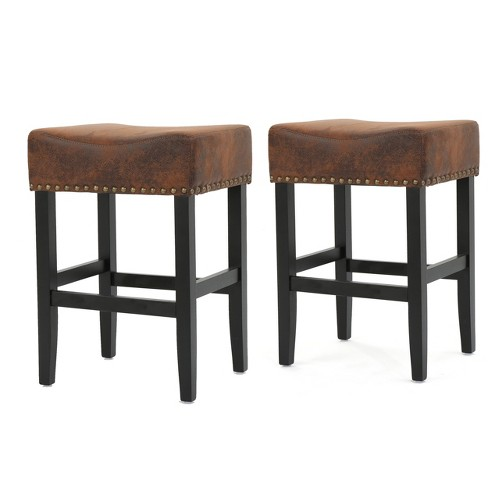 Set of 2 Lisette Backless Counterstool Brown - Christopher Knight Home - image 1 of 4