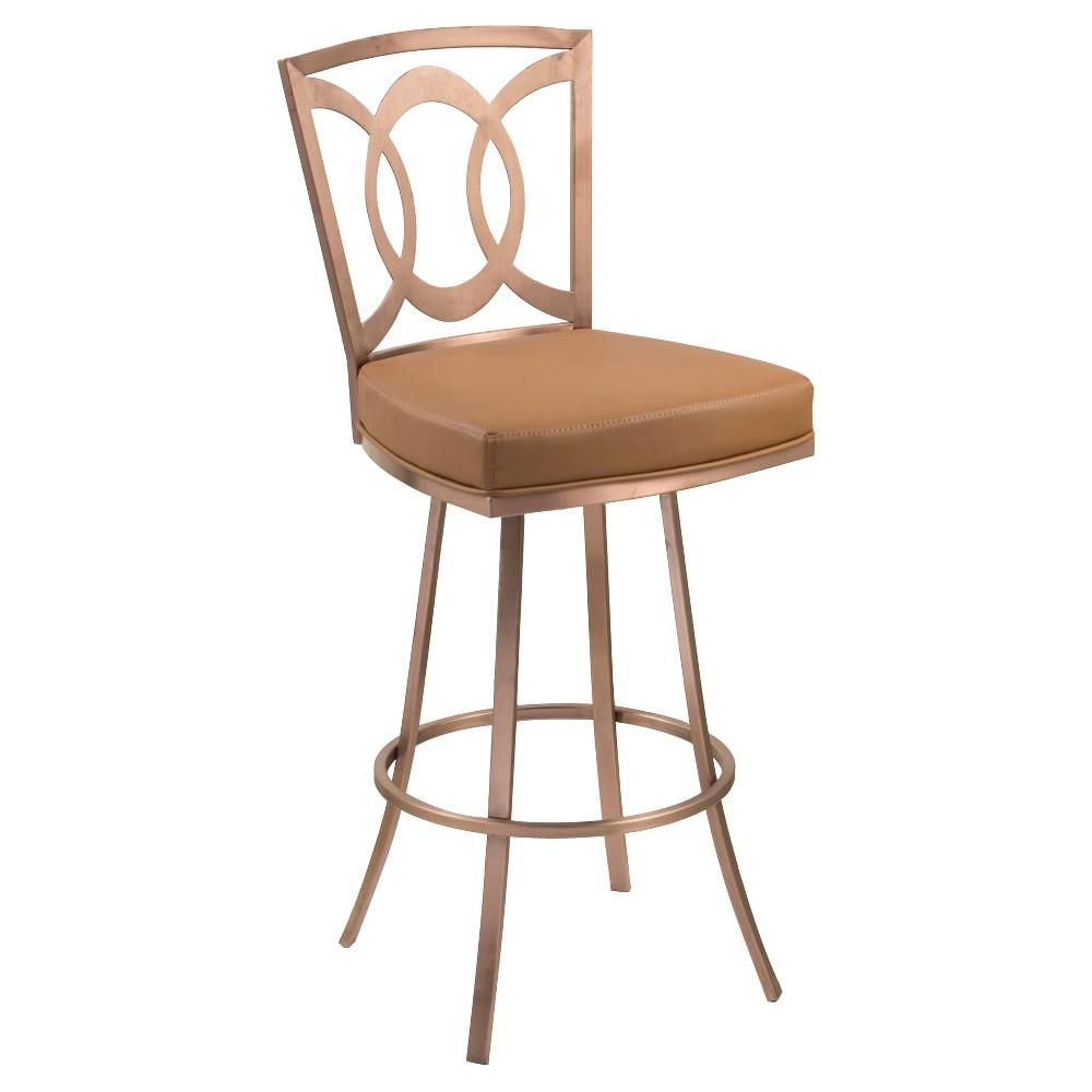 26 Armen Living Drake Swivel Counter stool - Camel and Gold
