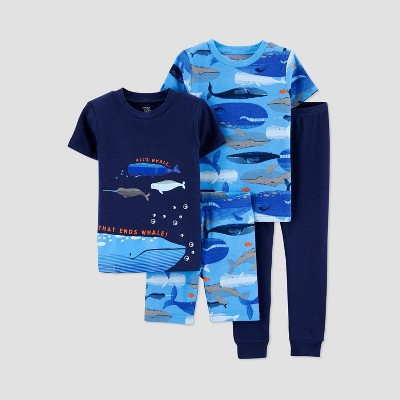 Baby Boys' 4pc Whale Pajama Set - Just One You® made by carter's Blue 12M