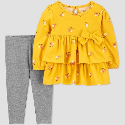 Baby Girls' Floral Top & Bottom Set - Just One You® made by carter's Yellow Newborn